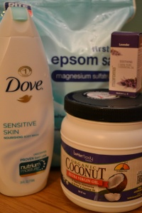 4 ingredients: epsom salt, body wash, coconut oil and lavender essential oil